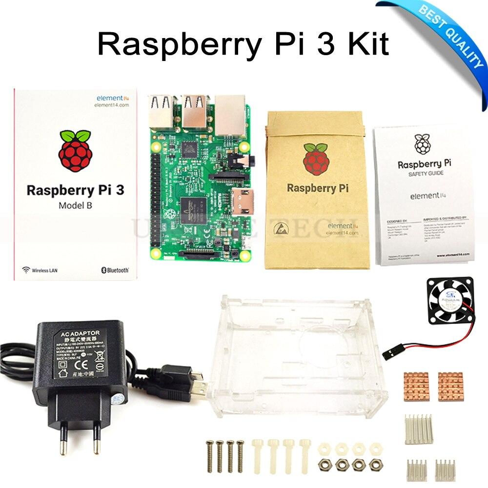 Raspberry Pi 3 Modell B Bord + Raspberry Pi3 Fall + Netzstecker (EU & US) + Wärme waschbecken