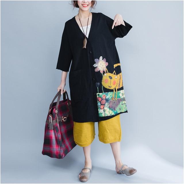 Plus Size 5XL 6XL 2018 Summer Women Fashion Kawaii Cat Print Bolero Tops Ladies Female Big Cotton Outwear Cardigans Jacket Coat 1