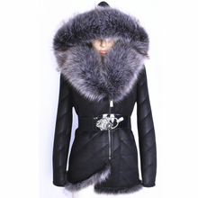 Direct supply Real from factory Artificial Fox fur with skin Winter Hood Fashion Faux suede women coat Fur Warm keeping new 2017