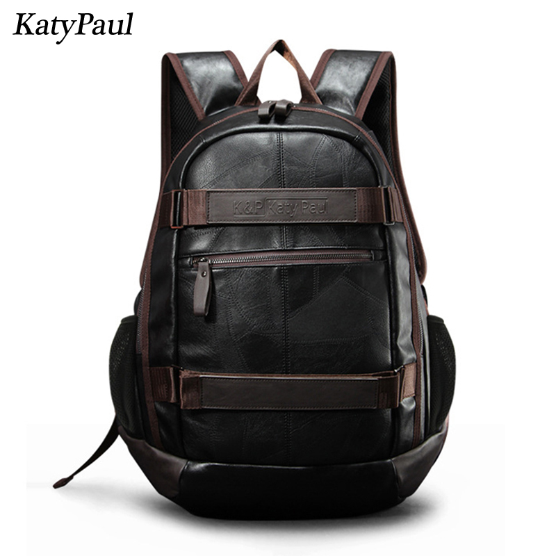 Realistic Backpacks School Bags For Teenage Men Pu Leather Fashion Brown High Quality Computer Travel Rucksack Male Student Shoulder Bags Men's Bags
