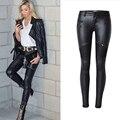 Women's Black Coated Jeans Skinny Stretch Low Waist Pants Motorcycle Biker Jeans Multi Zipper Punk Faux PU Leather Pencil Pants