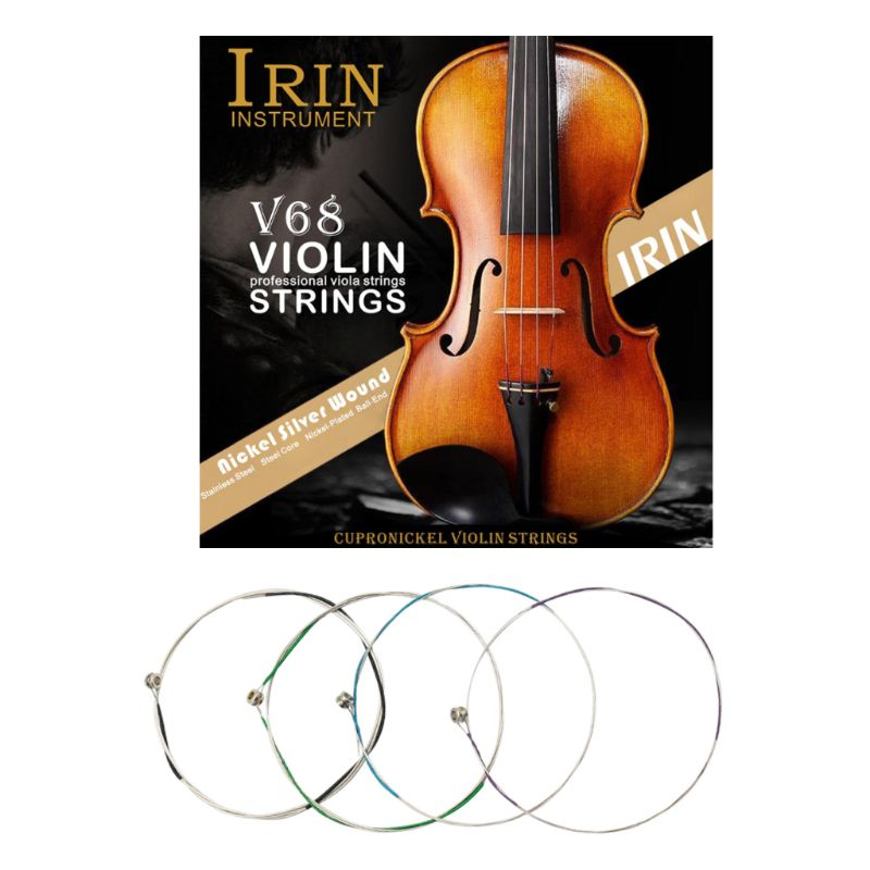 IRIN V68 Professional Violin Strings (E-A-D-G) Nickel Silver Wound for 4/4 3/4 1/2 1/4 Violin