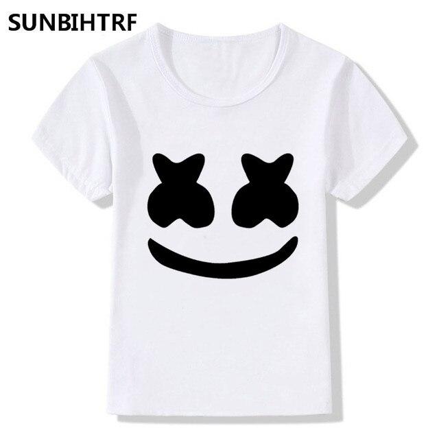 64c07e492b3 DJ Marshmallow Face Design Children Funny T shirt Big Boys Girls Kids  Summer O-Neck Short Skeeve Tops Casual Soft Baby Clothes
