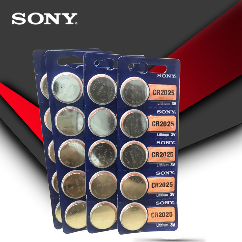 20PCS/LOT SONY Original Cr2025 Button Cell Batteries Cr2025 3V Lithium Coin Battery For Watch Calculator Weight Scale