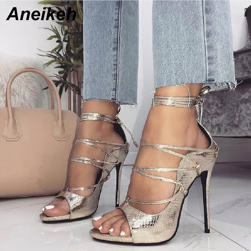 Aneikeh Gold Womens Sandals Sexy Fashion 2018 Summer Cross-Strap Open Toe Thin High Heels Pumps Party Dress Shoes Size 35-40 big size 40 41 42 women pumps 11 cm thin heels fashion beautiful pointy toe spell color sexy shoes discount sale free shipping