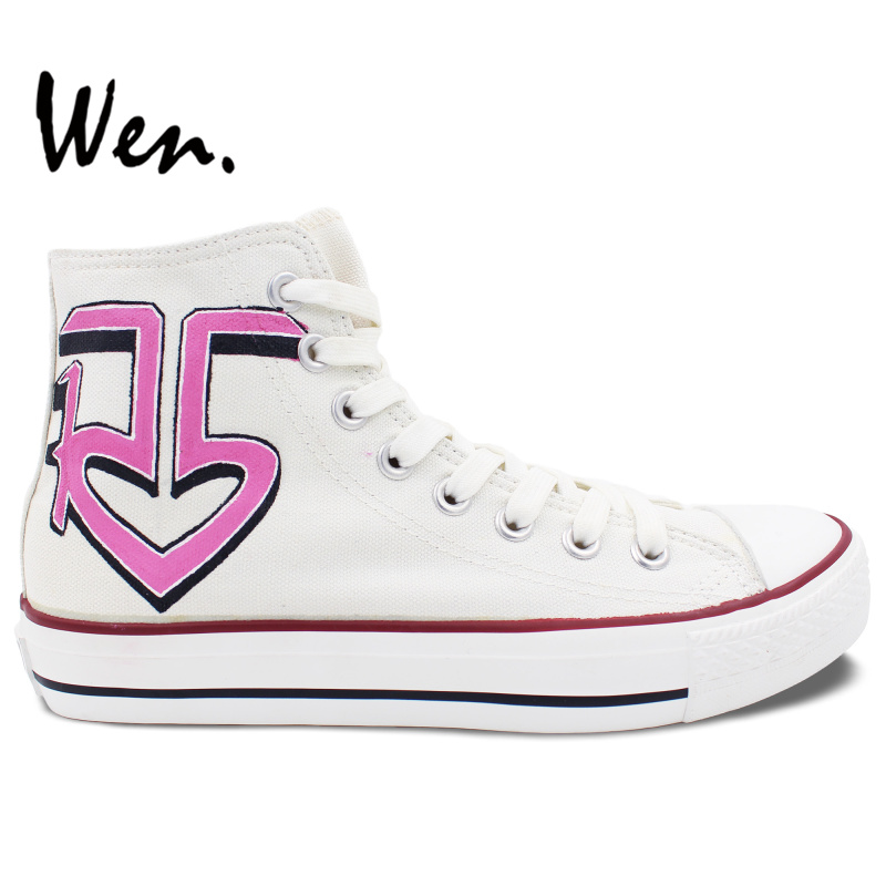 ФОТО Wen Hand Painted Shoes White Design Custom Shoes R5 High Top Women Girls' Canvas Sneakers