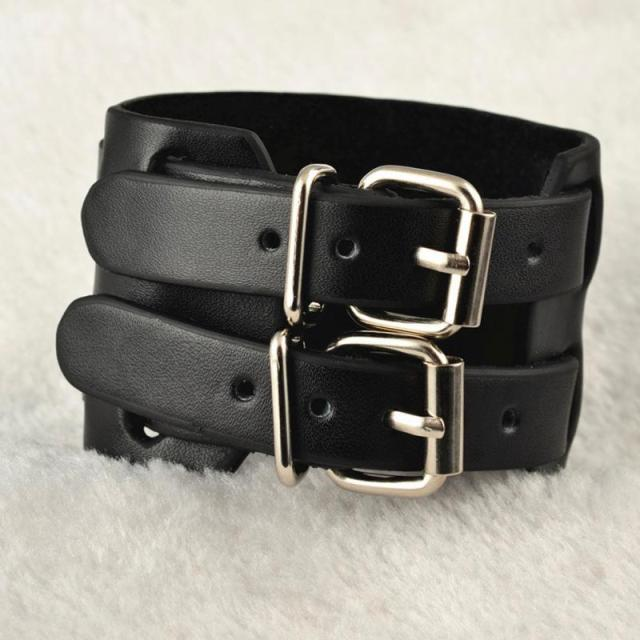 Leather Men Cuff Wrap Punk...