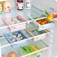 2 Pieces Antiskid Refrigerator Storage Box Holder Kitchen Adjustable Boxes Desk Drawer Organizer Case Plastic Drawer Cabinets