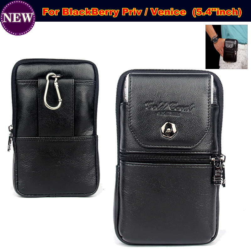 Wallet Phone Bag / Genuine Leather Carry Belt Clip Pouch Waist Purse Case Cover for BlackBerry Priv / Venice Case Free Shipping