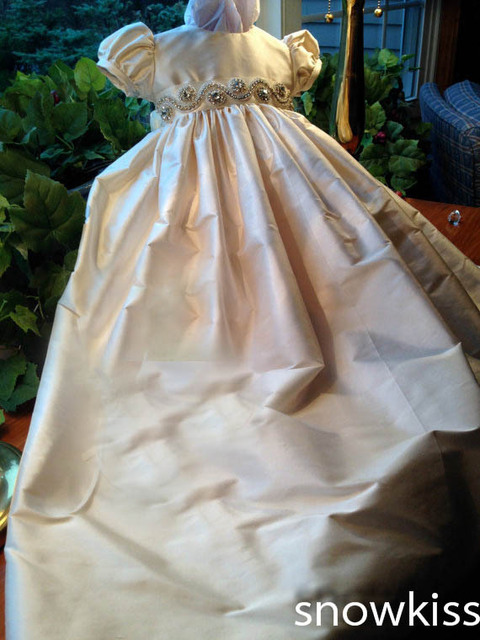 Champagne/White/Ivory Baby Girls 2015 With Crystals Rhinestones Belt Sash Bonnet Heriloom Dress Baptism Long christening gowns