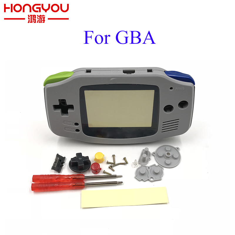 Full Set Housing Case Replacement gray Case Plastic Shell Cover for Nintendo GBA Gameboy Advance Console Buttons Screw Driver