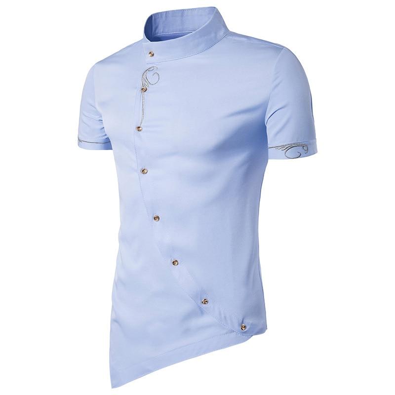 åFree ShipTuxedo Shirts Button-Dress Short-Sleeve Mandarin-Collar Eu-Size Brand-New Tops Oblique