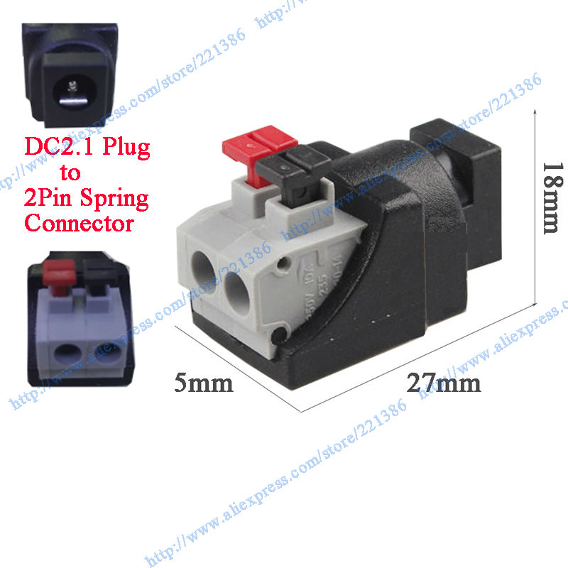 Free shipping 100pcs CCTV Female DC Power Plug DC Jack push female connector for Security Camera