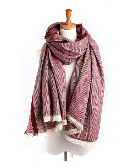 2016 Brand Fashion Scarf  Herringbone Pattern Square Plaid Top Quality Winter Warm Cashmere Tassel Shawl For Women