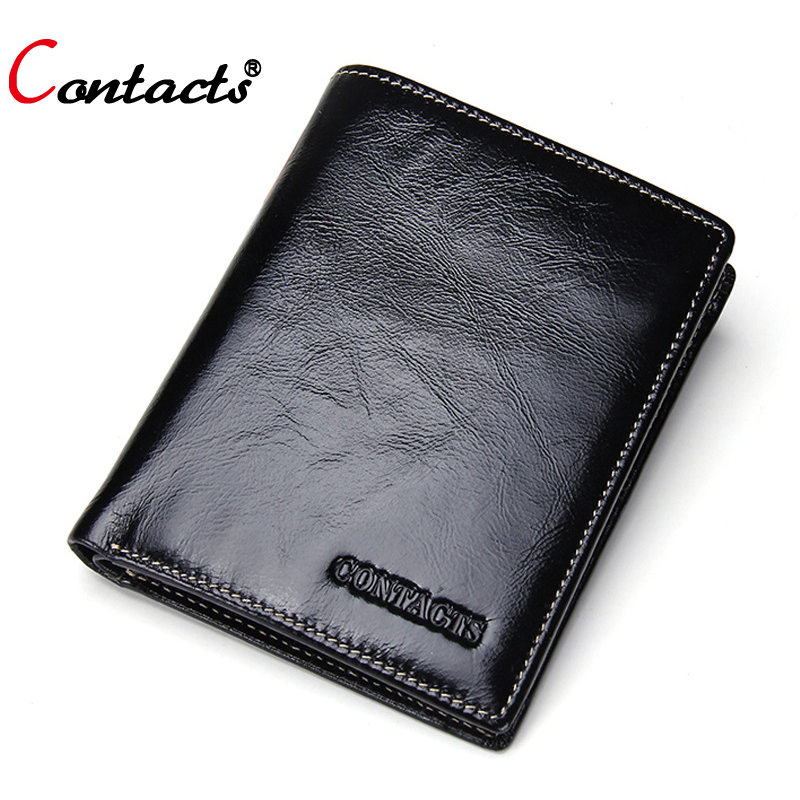 CONTACT'S Genuine leather Men Wallets male Short purse Standard Wallets Small Clutch Card Holder Coin Purses money Male bag 2017 dias de nevada