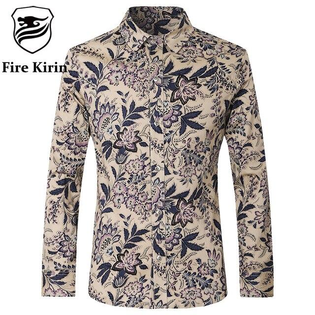 827ab98efb Kirin fogo Camisa Homens 2017 Últimas Mens Moda Camisas Slim mens ajuste  camisa estampa floral ocasional