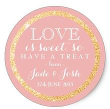 1.5inch Gold Glitter on ANY COLOR Wedding Favor Label Classic Round Sticker