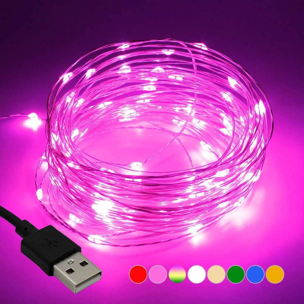 Светодиодная гирлянда, 10 м, 33 фута, 100 светодиодов, 5 В, питание от USB, водонепроницаемая медная проволочная гирлянда, рождественское празднич...