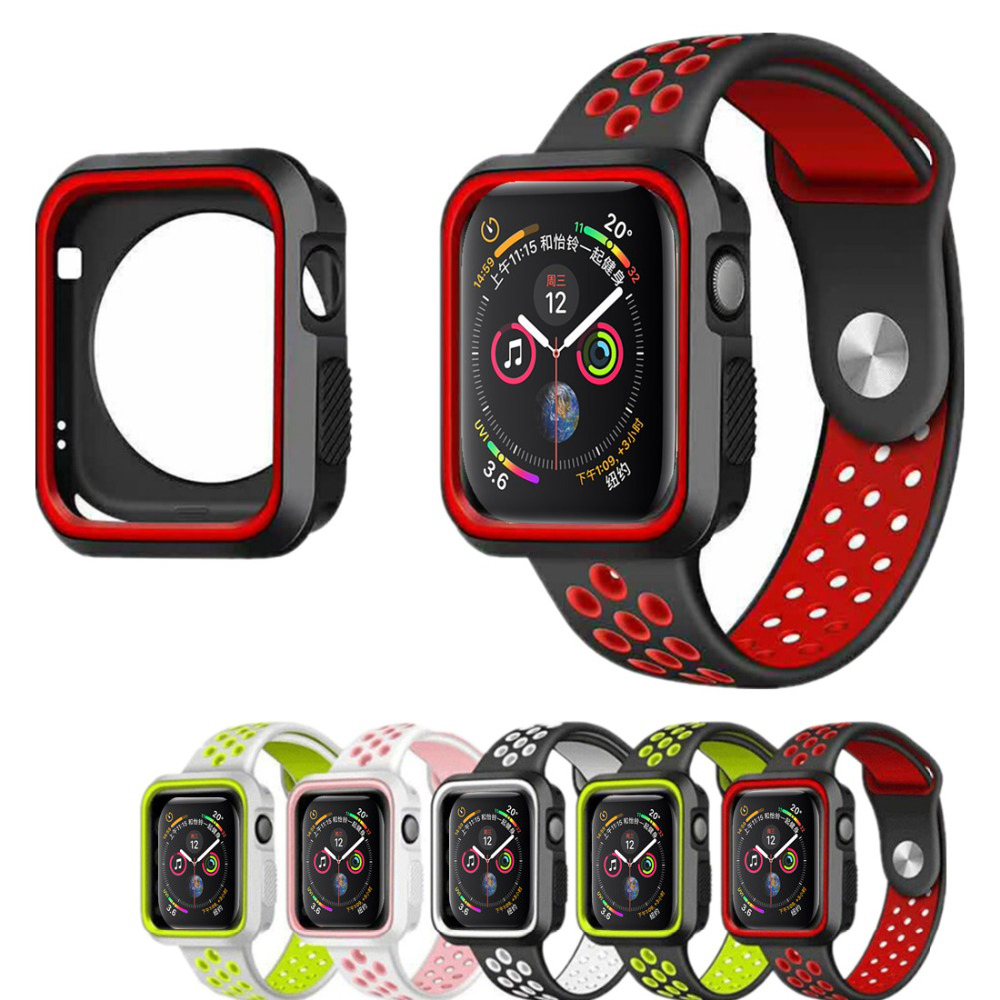 Case For Apple Watch Band Case 42mm 38mm Iwatch Series 4 3 2 1 Band 44mm 40mm Accessories Frame Silicone Protector Shell Cover