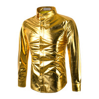 2017 Fashion Gold Print Men Slim Fit Shirt Chemise Homme Long Sleeve Shirt Casual Camisas Hombre