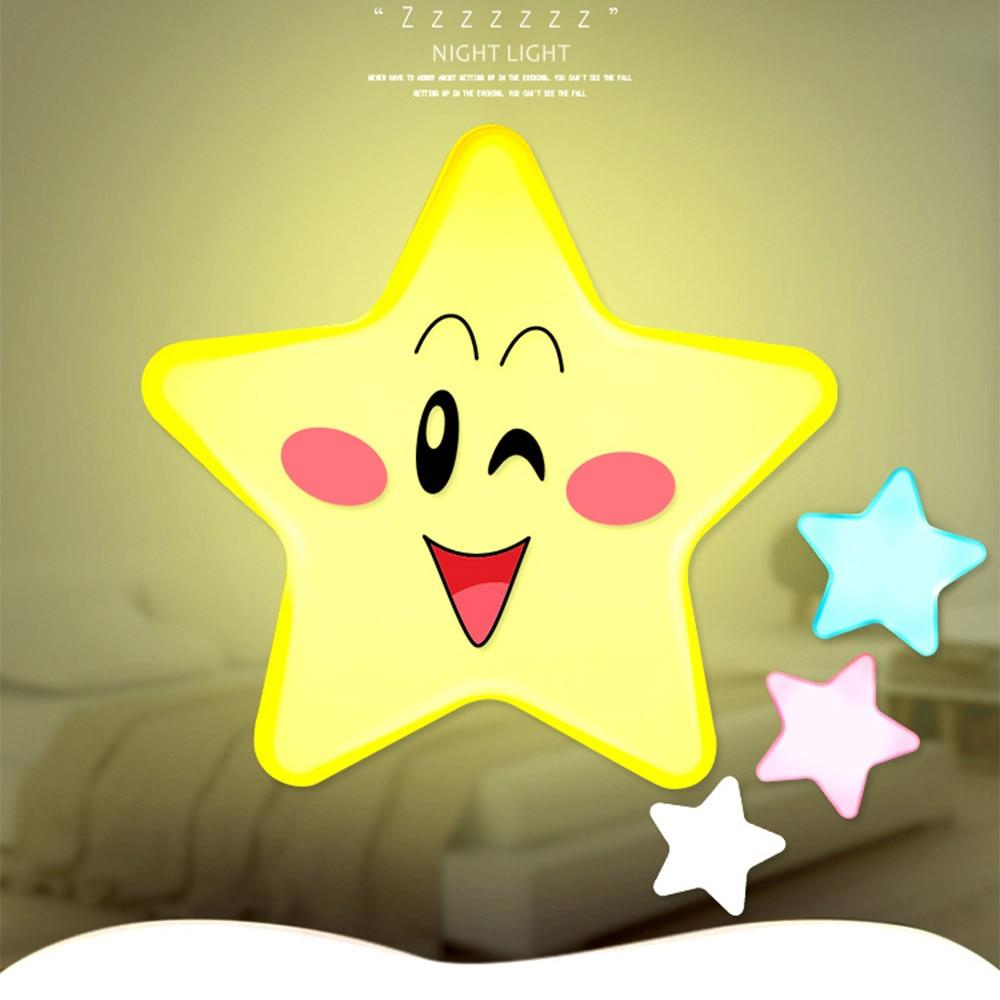 Cute Mini LED Star Kids Night Lights Smart Plug In Wall Light Sensor Night Lamp For Baby Gift Novelty Home Bedroom Decoration