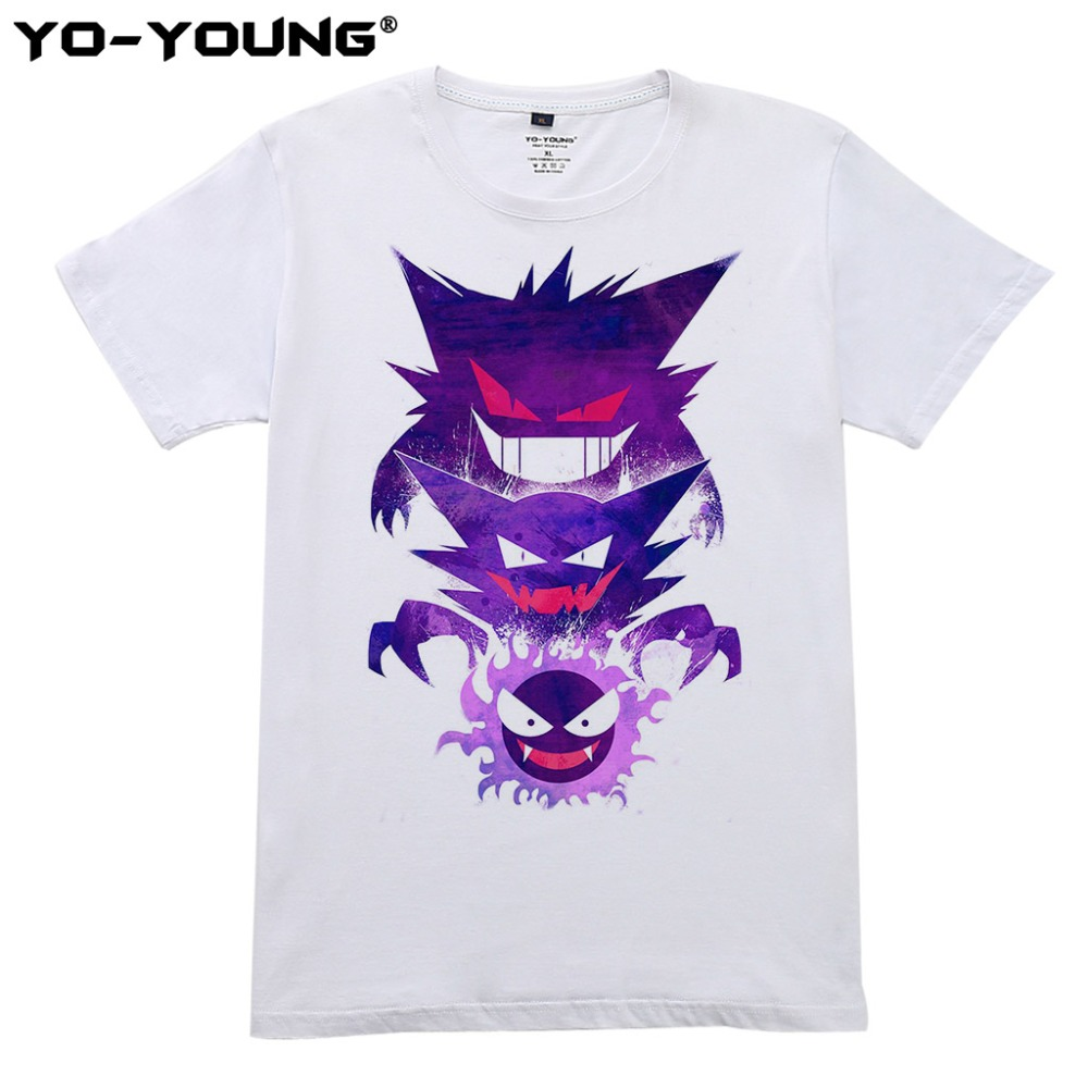 Pokemon T Shirts Men Gastly Haunter Gengar Design Digital Printing