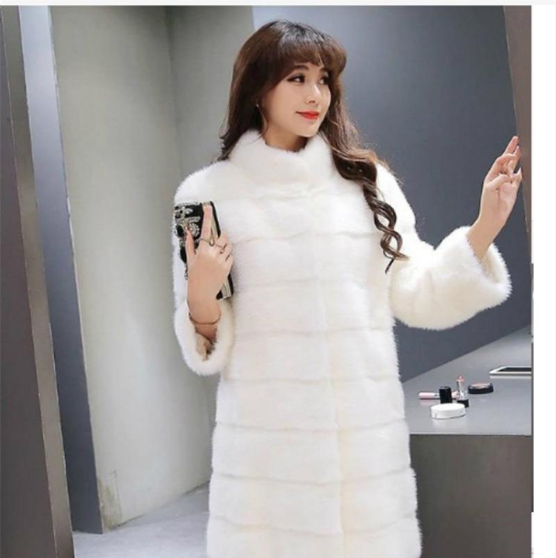 Bande Blanc Plus Pied Col Longue Pelliccia Donna De Faux Hiver Vison Pardessus Manteau Fourrure Femmes Imitation Rose La Taille q6Pqz7a