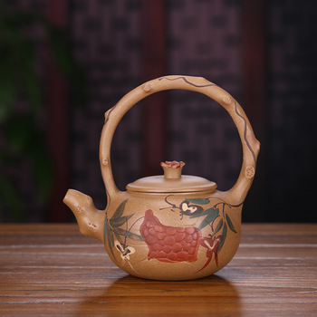 Raw Ore Section Mud Pure Manual Quality Goods Coloured Drawing Or Pattern Handle Teapot Tea Set Gift Agent Deliver Goods