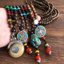 Nepal Wood Beads Necklace Ethnic Natural Stone Pendant Long Sweater Necklace for Women Men Buddha Handmade Statement Jewelry недорого