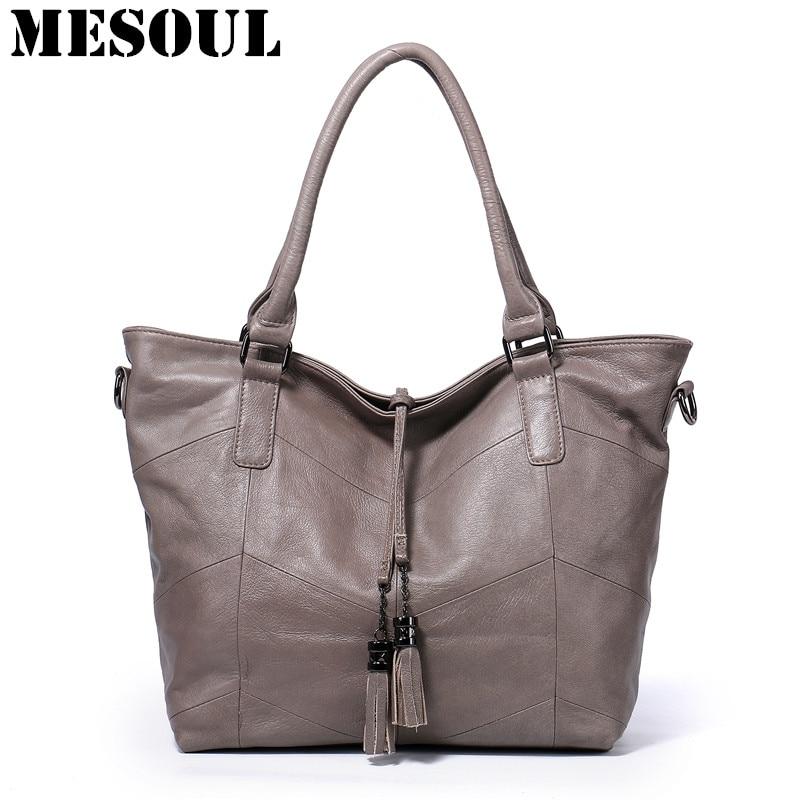 ผู้หญิงกระเป๋าถือความจุขนาดใหญ่ Casual Tote คุณภาพสูงกระเป๋าสะพายกระเป๋าสุภาพสตรี Crossbody กระเป๋า 100% แท้กระเป๋าหนัง-ใน กระเป๋าสะพายไหล่ จาก สัมภาระและกระเป๋า บน   1