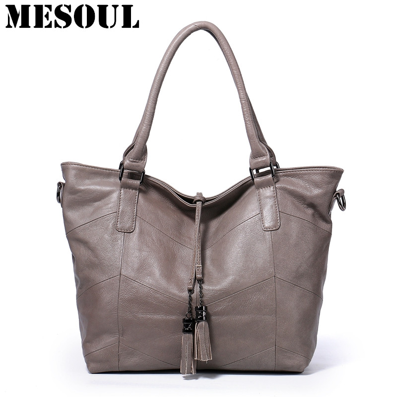 Women's Handbags Large Capacity Casual Tote High Quality Tassel Shoulder Bags Ladies Crossbody Bag 100% Soft Genuine Leather Bag high quality women s bucket shoulder bags genuine leather handbags soft large capacity casual crossbody bag lady bolsas feminina