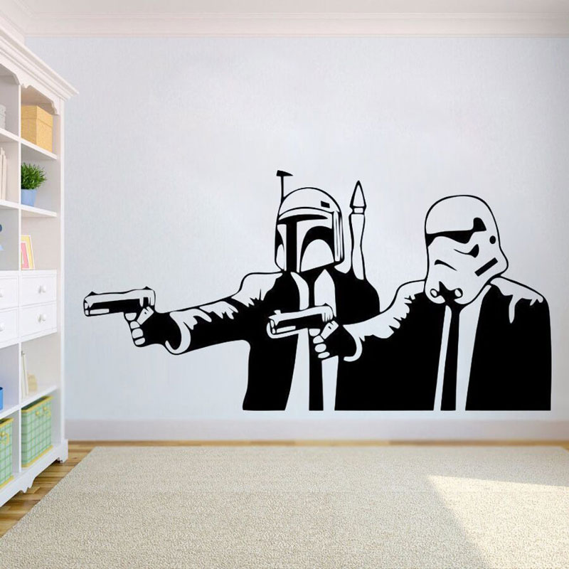 Movie Art Poster Vinyl Wall Sticker Removable Pulp Novel Star Wars Wall Decal Hot Movie Star Wars Poster Home Decor DY19 image