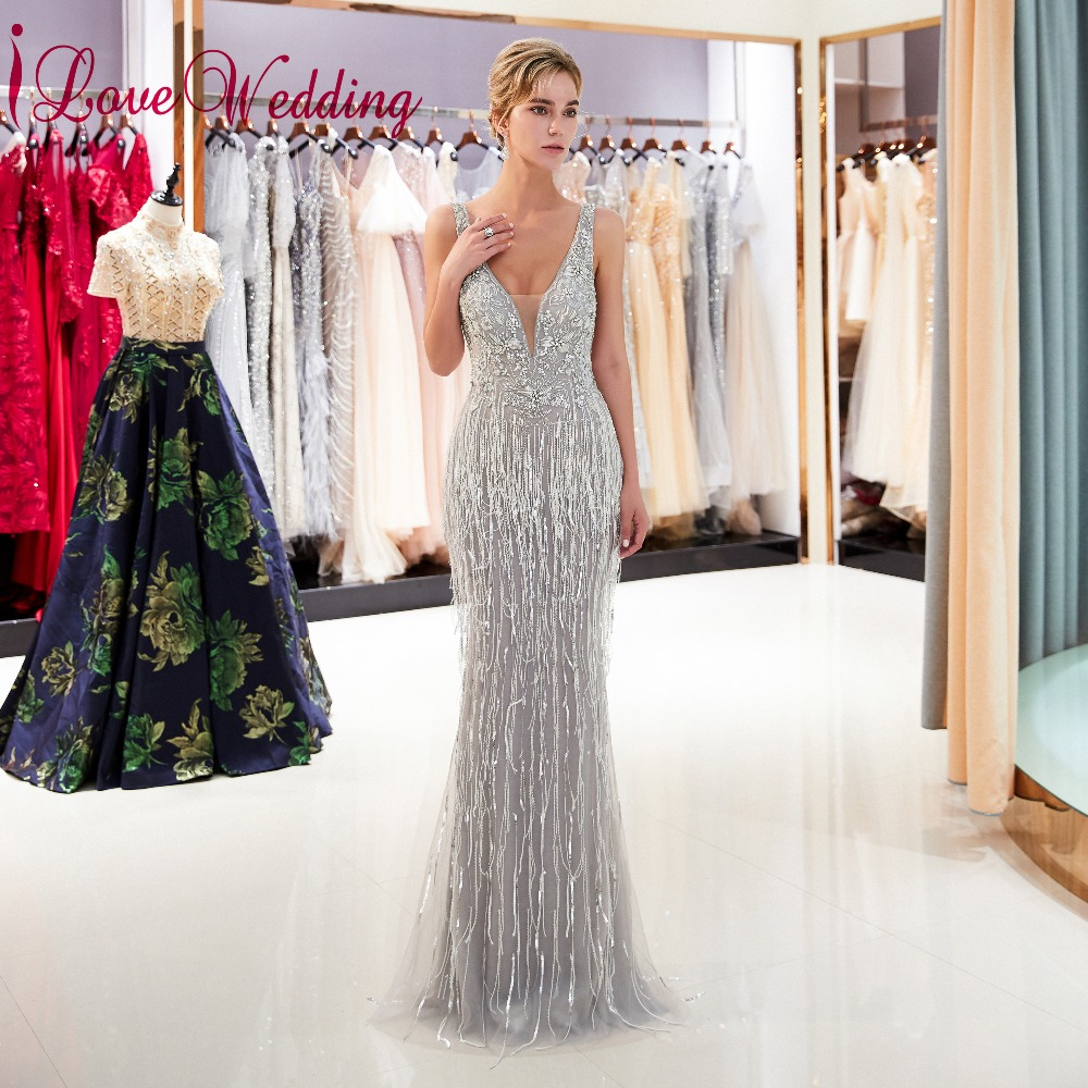 iLoveWedding Formal   Evening   Gowns V Neck Crystal Beaded custom made Shiny Sequins Mermaid V Back   Evening     Dresses   Long