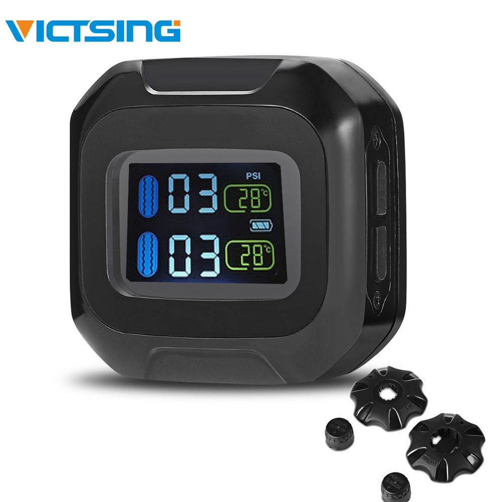 VicTsing M3 Motorcycle Tire Pressure Monitoring System with 2 External Sensors TPMS Motocross Motorbike LCD Screen 0 116 PSI BAR