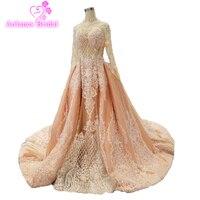Винтаж Африканский мусульманские свадебные платья Съемная Поезд доступны розовый Свадебные платья Русалочки 2018 с длинным рукавом халат де