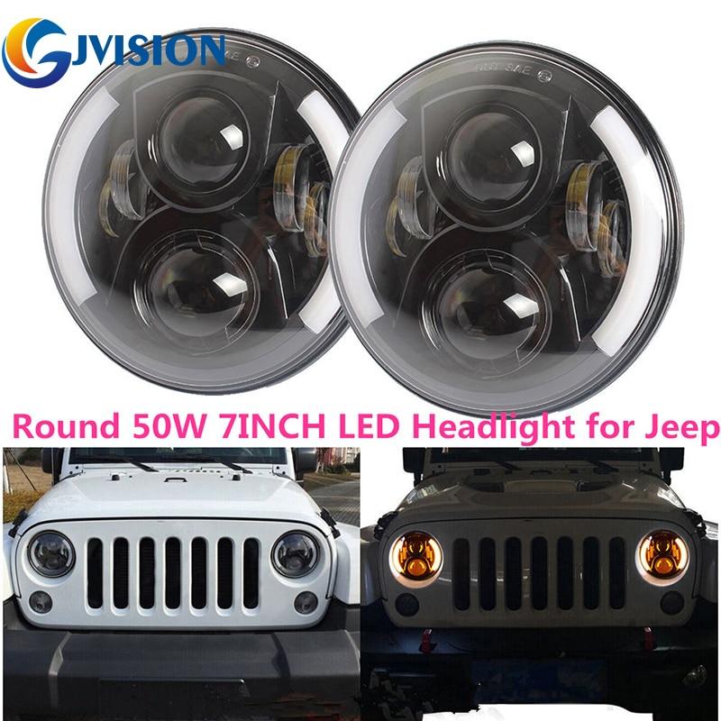7 дюймов круглые фары дневного света 50W H4 высокой/низкой луч сигнала поворота автомобиля Сид фары для Jeep Вранглер JK, Лада Урбан 4х4 Нива
