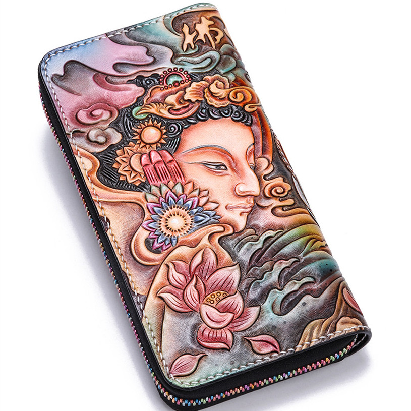 Handmade Genuine Leather Wallets Carving Buddhism Elephant Bag Purses Women Men Long Clutch Vegetable Tanned Leather Wallet Gift vintage genuine leather wallets carving lion hasp bag purses women long clutch vegetable tanned leather wallet fathers day gift