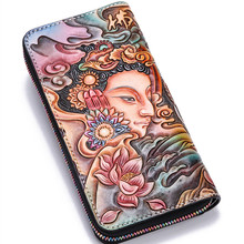 Ручной работы из натуральной кожи кошельки резьба Буддизм Слон Сумка кошельки Для женщин Для мужчин длинные клатч растительного дубления кожаный бумажник подарок