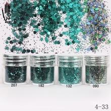 Nail Art 1 Jar/Box 10ml Nail 4 ciemnozielony kolor Mix brokat do paznokci cekiny proszek do żel do paznokci dekoracja wskazówka 300 kolor 4 33