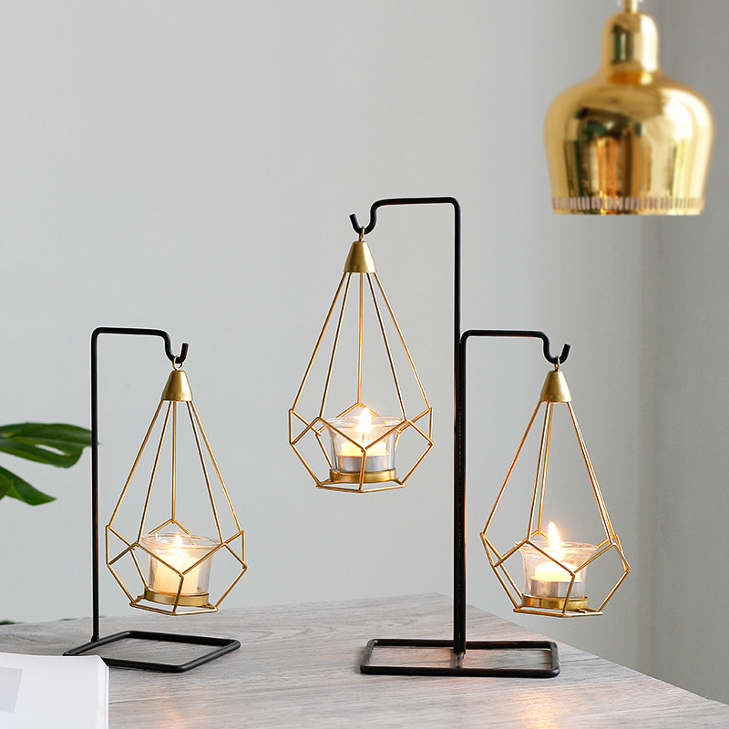 Nordic Style Gold Geometric Candle Metal Tealight Candle Stand Holder with Wrought Iron Hanging Rack Decoration Home Craft image