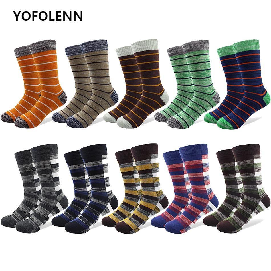 10 Pairs/lot Men Business Combed Cotton Plaid Slim Stripe Dress Socks Dark Color Long Crew Plus Size Wedding Socks For Man