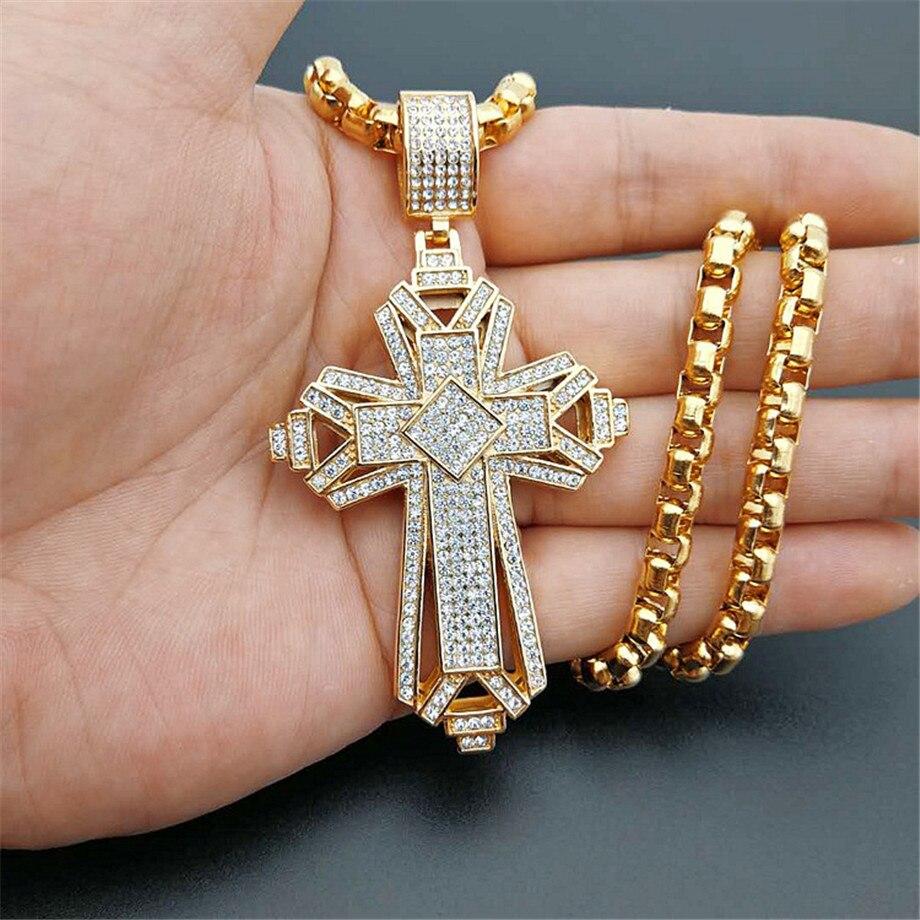 2019 plus récent glacé en acier inoxydable grand croix pendentif collier pour hommes couleur or Christian Cruzar collier bijoux religieux