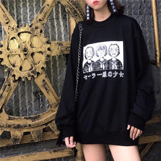 Korean Harajuku Lovely Anime Cartoon Hoodies Japanese Oversized Loose All-match Long Sleeve Female Street Fashion Sweatershirt 5