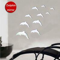 3D Acrylic Deep Sea Fish Dolphin Crystal Mirror Wall Stickers Removable Window Decals Living Room Bathroom