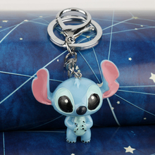 Fashion 3D Cute Cartoon Doll Resin Stitch Keychain Child Toy Animal Stitch Lovely Keychain for Gift cute resin bride and bridegroom toy doll