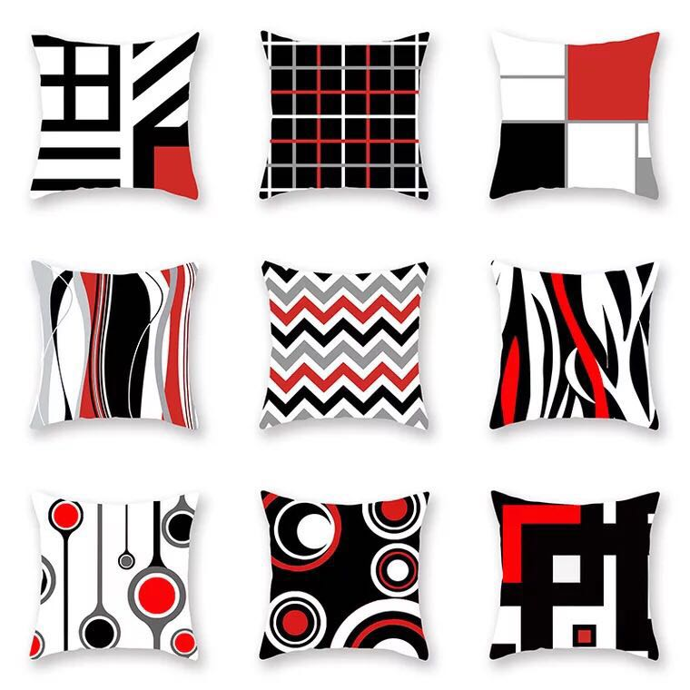 Emerra 9Colors Restoring ancient ways Nordic Wind Red Geometric Line Pillow Cover 45x45cm Free Shipping