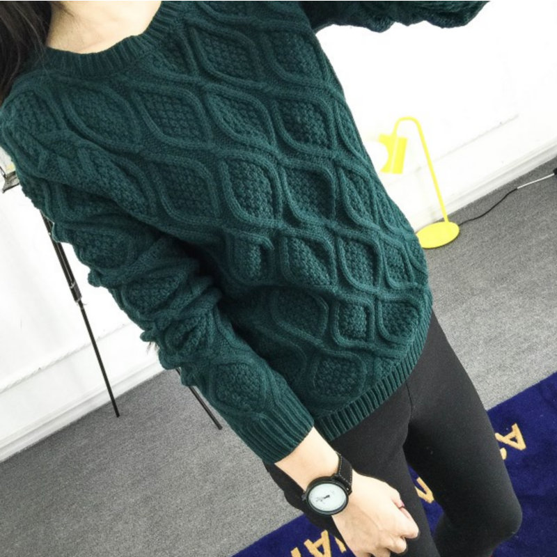 19f64d6e194 2018 Hot New Autumn Winter Women Cotton Elastic Twist Sweater Lady Knitted  Long Sleeve O-neck Woolen Pullovers