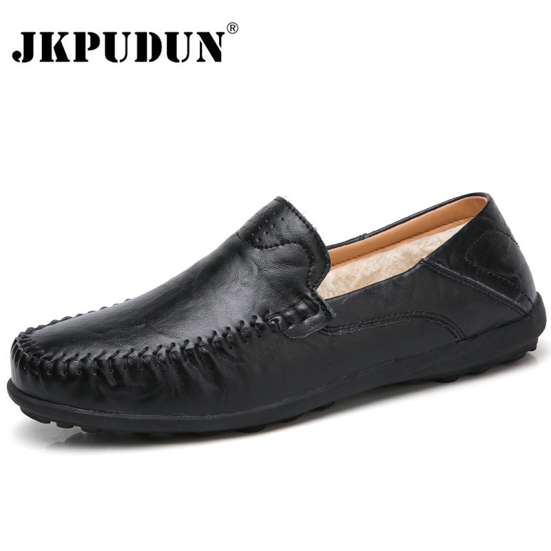 JKPUDUN Men Shoes Casual Luxury Brand Italian Mens Loafers Genuine Leather Winter Fur Moccasins Breathable Slip On Driving Shoes