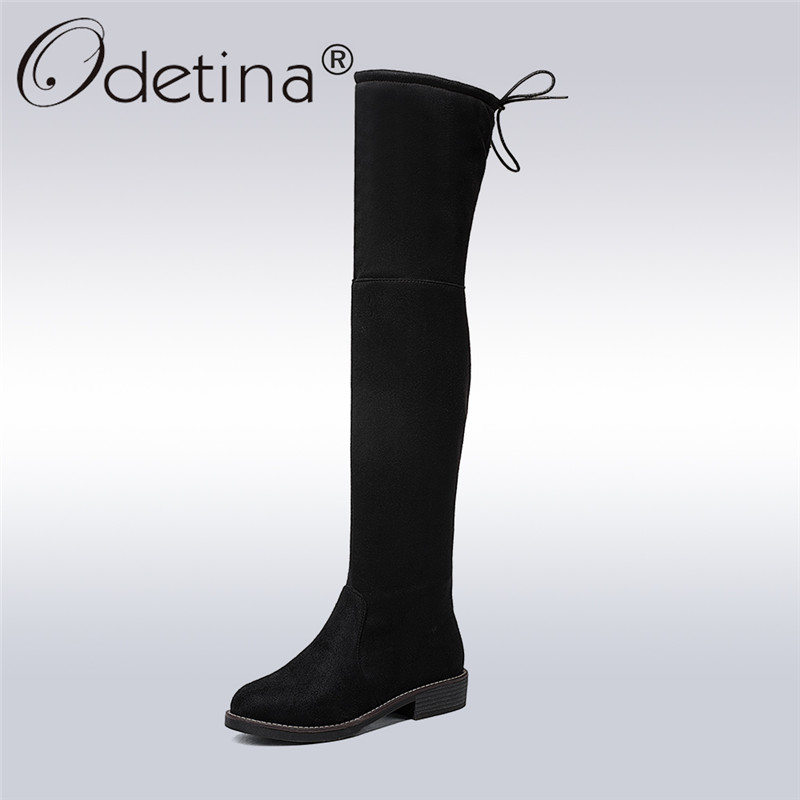 Odetina 2017 New Fashion Women Faux Suede Over The Knee Boots Flat Low Chucky Heel Slim Sexy Thigh High Boots Winter Warm Shoes odetina warm cotton snow boots black over the knee long boots womens thigh high boots waterproof fashion ladies winter shoes