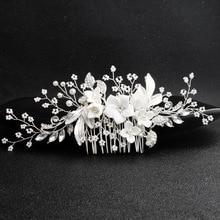 купить Korean Original design handmade ceramic flower hair comb bride wedding Head hair Jewelry дешево